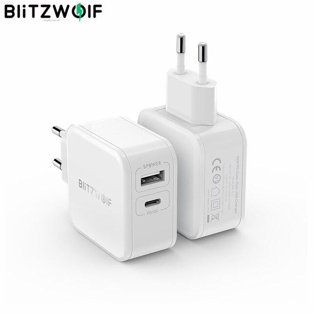 BlitzWolf 30W typu C ładowarka do telefonu komórkowego na PD/QC3.0 + 2.4A podwójny USB szybka ładowarka ue przejściówka Adapter ForiPhone 11 PRO XR dla iPad biały