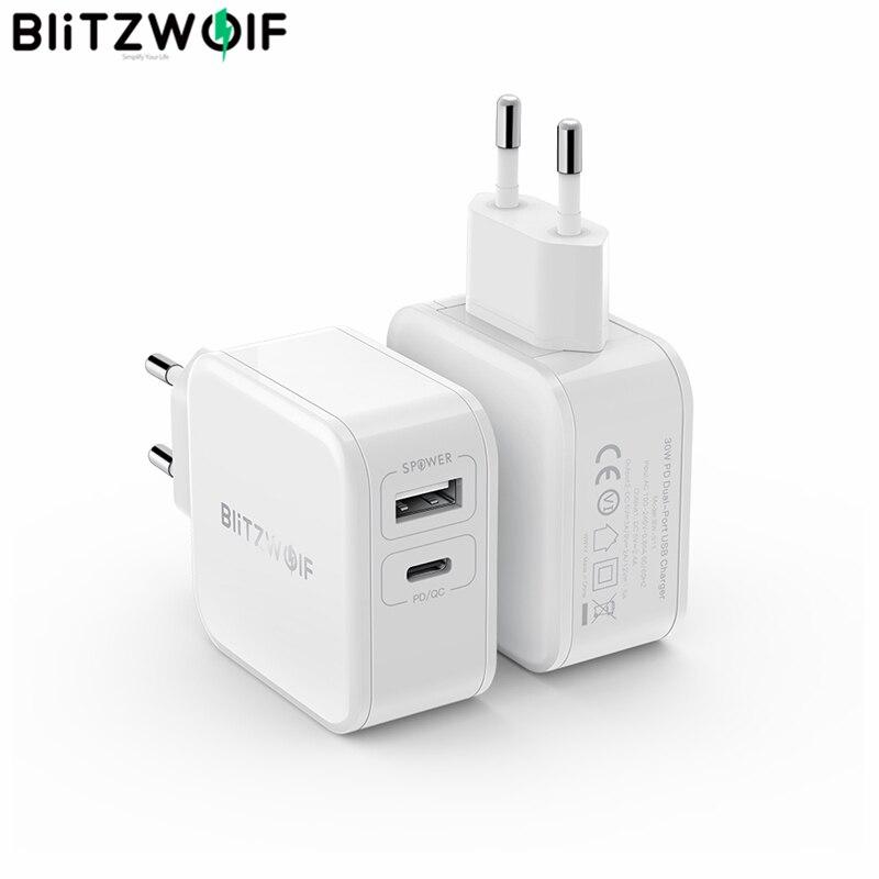 PD BlitzWolf 30W Tipo C Carregador Do Telefone Móvel/QC3.0 + 2.4A Dual USB Carregador Rápido DA UE Plugue adaptador ForiPhone 11 PRO XR Para iPad Branco on AliExpress - 11.11_Double 11_Singles' Day