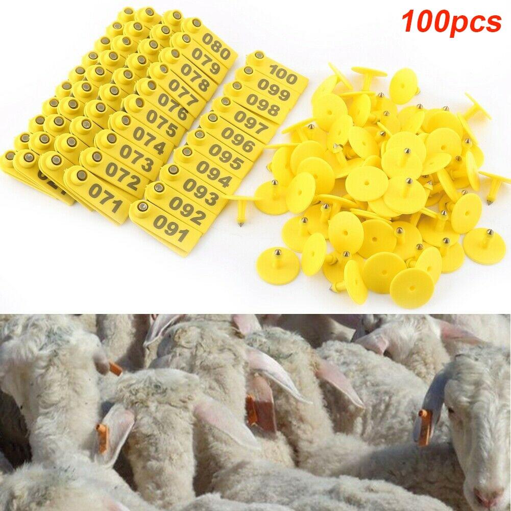 1-100 Yellow Number Plastic Livestock Ear Tag Animal Tag Goat Sheep Pig 1sets