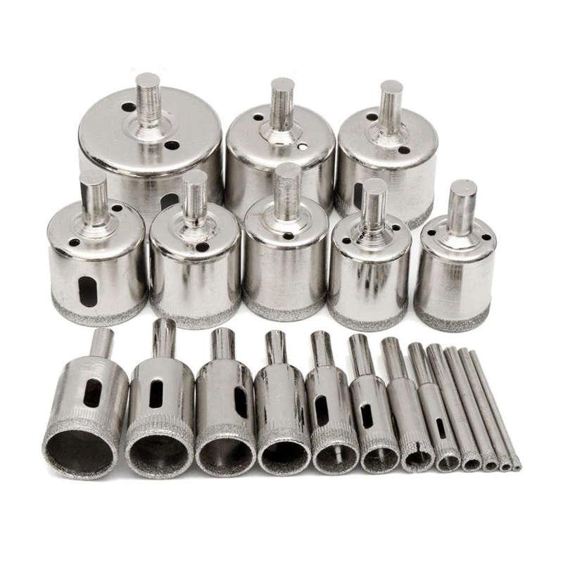 20 Pcs 3-50mm Diamond Drill Bits Set Hole Saw Cutter Tool Glass Marble Granite V
