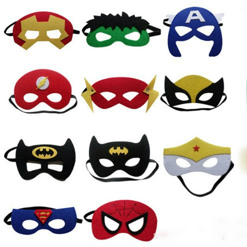 100pcs Mask Hat Kids Easter Ghost Festival Halloween Felt Iron Man Batman Hulk Variety Mask Child Adult Halloween Mask For Party