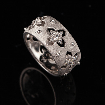 CMajor S925 sterling silver Jewelry hollow out four-leaf clover elegant vintage palace St. Patrick's Day wide rings for women