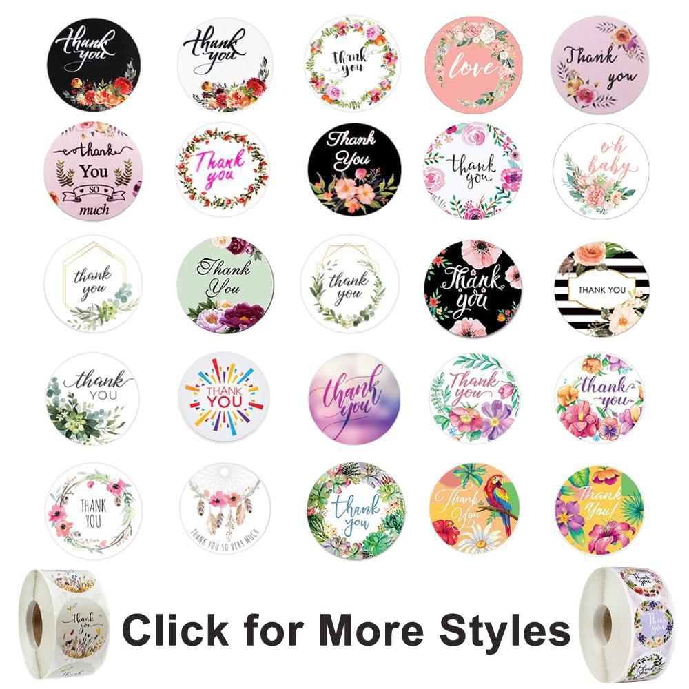 500 шт., круглые Цветочные наклейки, благодарим вас, этикетки для печати на свадебные сувениры и вечерние наклейки ручной работы, конверт, сти...