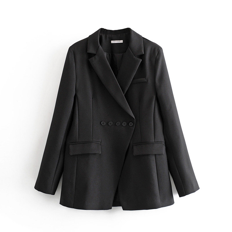 High Street Simple Style Ladies Personality Horizontal Breasted Suit 2019 New Women's Loose Senior Office Trend Casual Suit