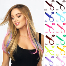 Hair-Piece Hair-Rainbow-Hair Streak Color Long Straight Synthetic 22inch To XUANGUANG