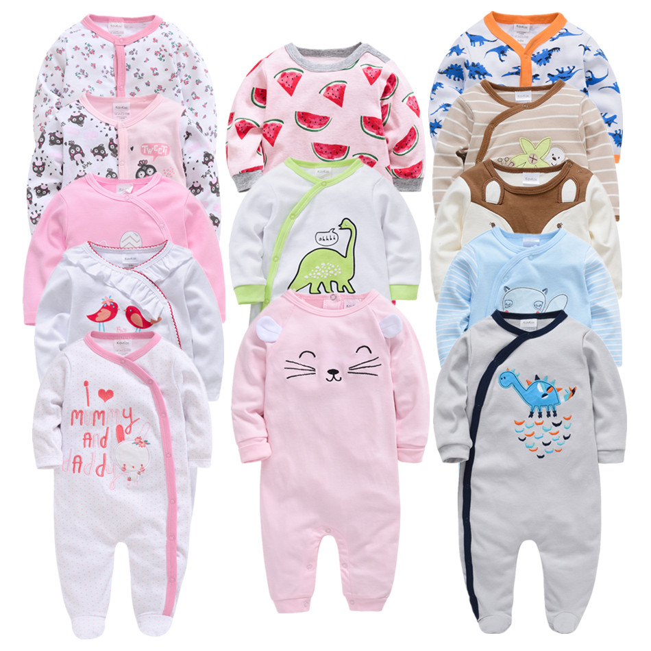 Honeyzone 3 4 Pcs/lot Baby Rompers Long Sleeve Cotton Baby Girl Body Suits New Born Jumpsuit Baby's Onesie 0-12M Pyjamas Bebe