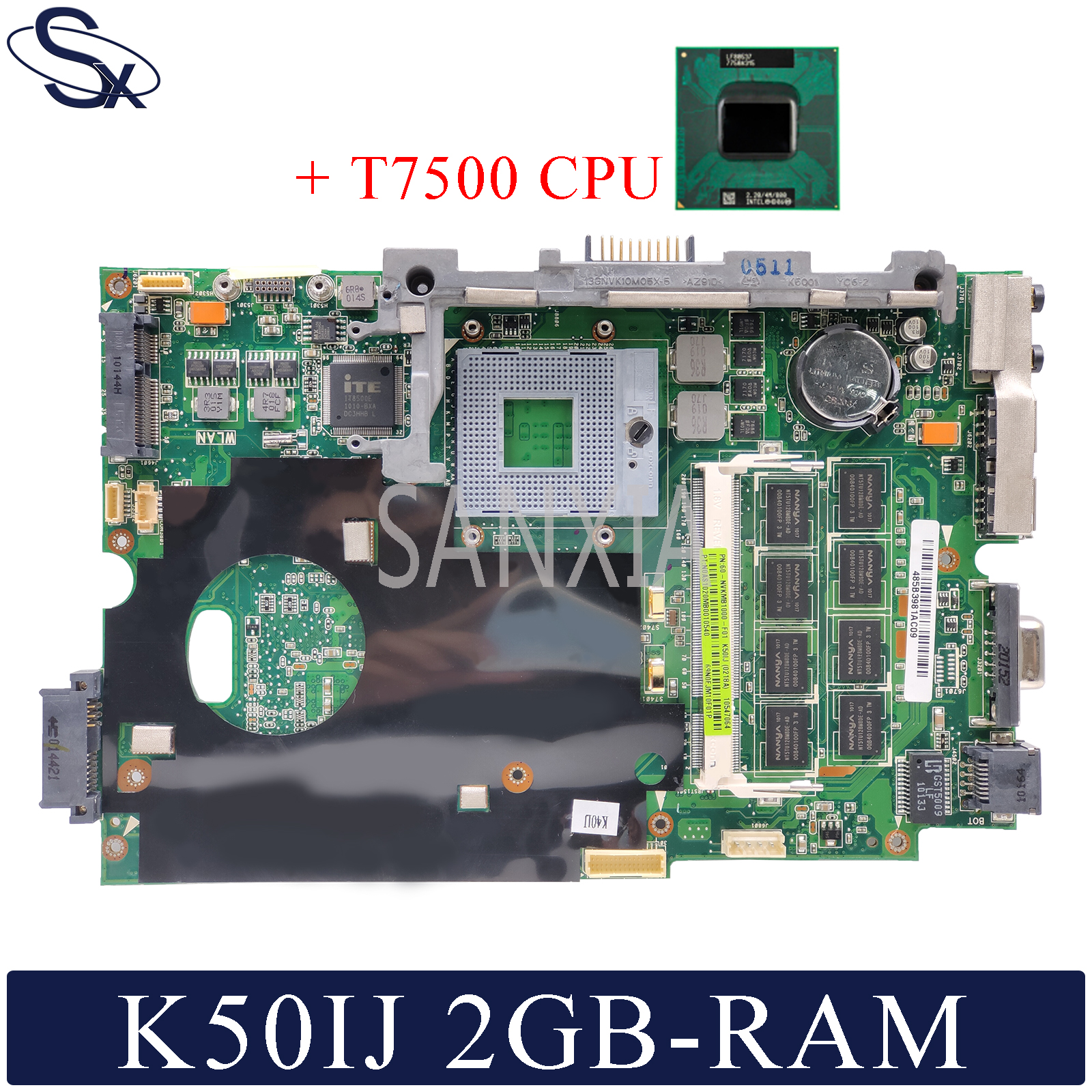 KEFU K50IJ Laptop motherboard for ASUS K40IJ K60IJ X5DIJ P81IJ P50IJ K40IN K50IN K40AB K50AB K50AF original mainboard 2G-RAM