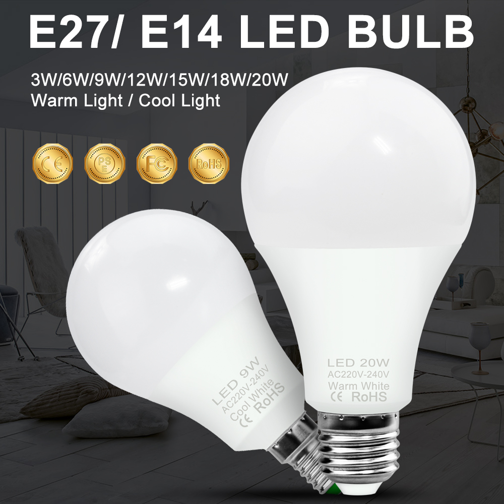 E27 LED Bulb E14 Led 12W Lamp 220V Spot Light Ball Bulb 3W 6W 9W 15W 18W 20W Lampada LED Spotlight Table Lamp Light 240V 2835SMD
