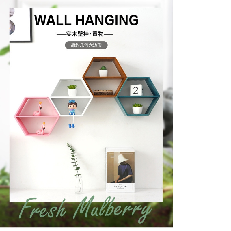 Hexagonal Decorative Shelf Children's Room Living Rooms Wall Hanging Partition Bedroom Bookshelf Punch Free