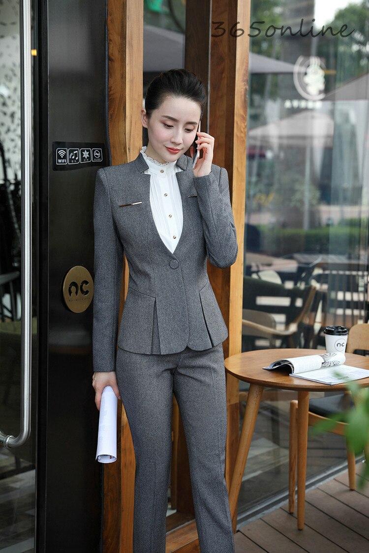 Novelty Grey Ladies Office Formal Uniform Designs Business Suits OL Work Wear Blazers Autumn Winter Professional Pantsuits