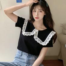 Кружевная простроченная футболка с лацканами вязаные футболки