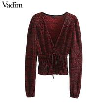 Vadim, женские стильные блузки с v образным вырезом, эластичная талия, рубашки с длинным рукавом, Женские повседневные топы с завязками, blusas mujer LB754