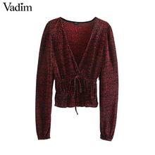 Vadim women stylish print V neck blouses elastic waist long sleeve shirts female casual drawstring tie tops blusas mujer LB754