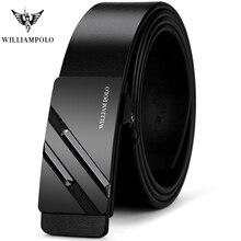 WilliamPOLO Cinturón de cuero auténtico para hombre, cinturón masculino de lujo con hebilla automática de Metal, de piel de vaca a la moda, de alta calidad
