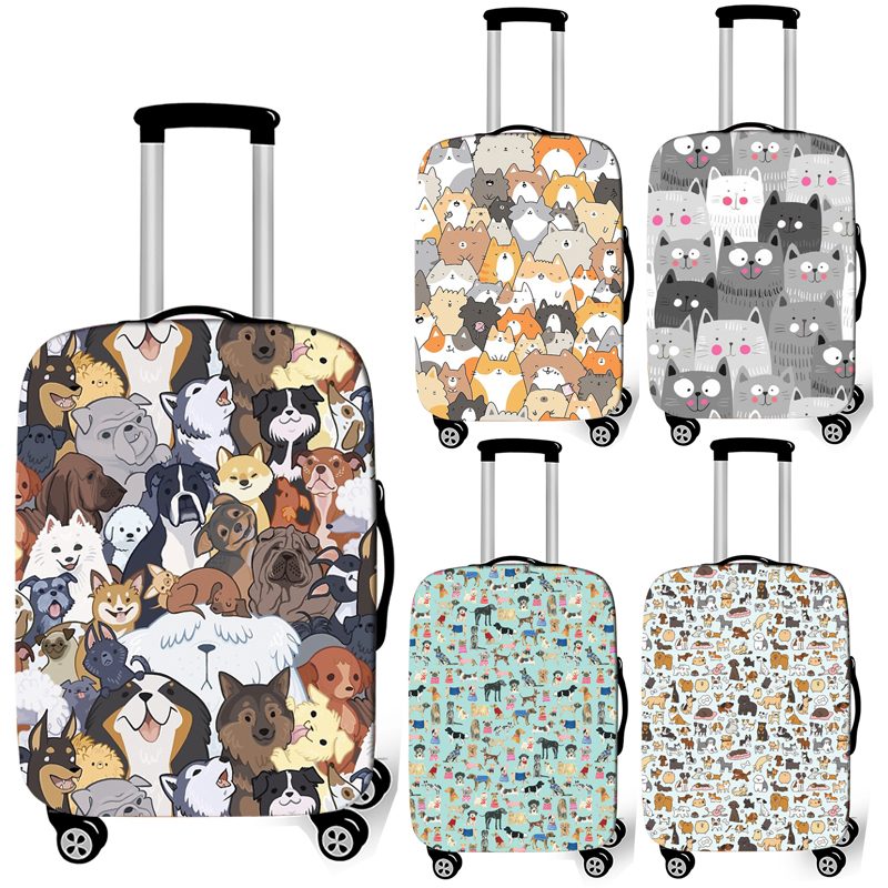 Cute Dog / Cat Print Luggage Cover Travel Accessories Anti-dust Baggage Covers Elastic Suitcase Trolley Case Cover