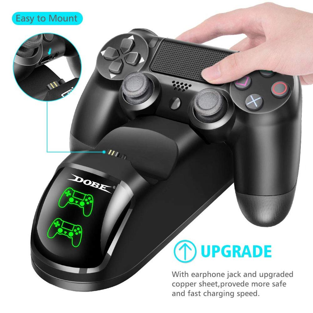Dual USB Handle Fast Charging Dock Station Stand Charger for PS4/PS4 Slim/PS4 Pro Game Controller Joypad Joystick 4