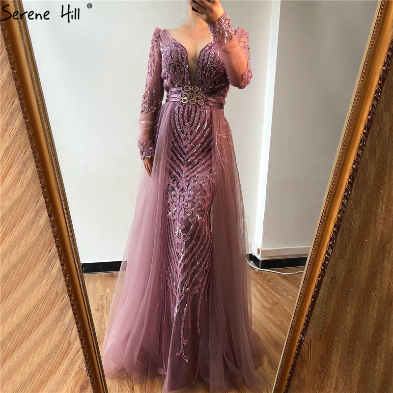 Muslim Pink  Elegant Long Sleeves Mermaid with Detachable Train Evening Dresses Gowns For Woman Serene Hill Plus Size Party