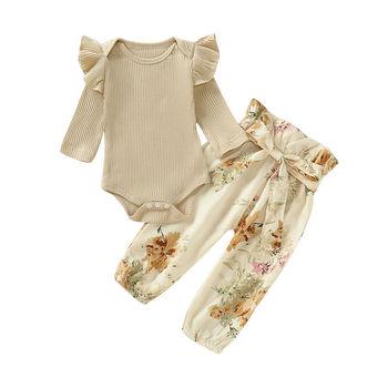 Recién Nacido volante para niña pequeña de punto de manga larga mono estampado floral Bowknot pantalones largos Casual niño ropa conjunto