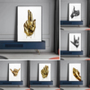 Abstract Metal Gold Fingers Wall Art Printed on Canvas 1