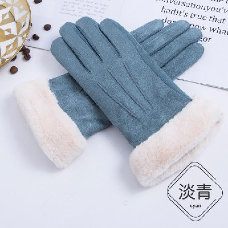 New Winter Female Lace Warm Cashmere Three Ribs Cute Bear Mittens Double Thick Plush Wrist Women Touch Screen Driving Gloves
