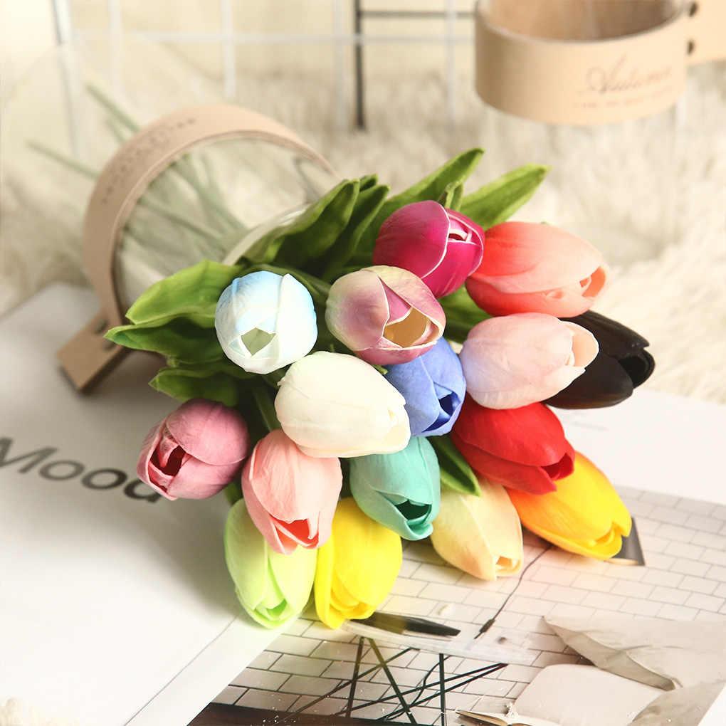 5Pcs Tulipดอกไม้ประดิษฐ์สัมผัสจริงดอกไม้ประดิษฐ์ดอกไม้ปลอมสำหรับงานแต่งงานตกแต่งดอกไม้บ้านสวนDecor