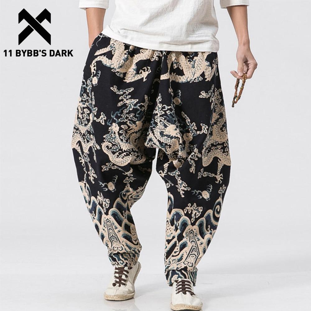 11 BYBBS DARK Dragon 3d Print Wide Leg Linen Casual Pants Male Knicker