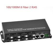 1000/Gigabit 8 Fiber port 2 RJ45 Ethernet ports Fiber Optical Transceiver Single-Mode Optical Fiber Media Converter Fiber switch