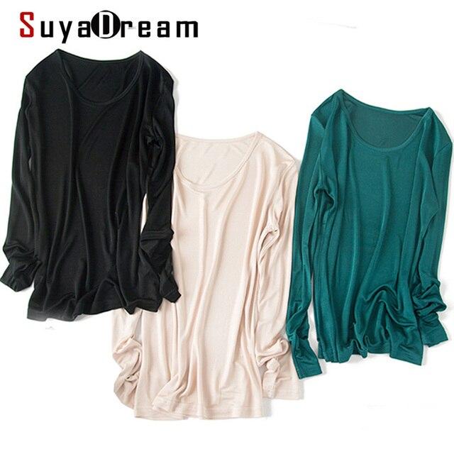 SuyaDream Женская Базовая рубашка из натурального шелка, футболки с длинными рукавами и круглым вырезом, здоровый Топ, 2020, осенне зимнее вино
