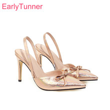 2020 Brand New Elegant Gold Silver Women Wedding Sandals Sexy High Stiletto Heel Lady Bridal Shoes Plus Big Size 10 43 45 48(China)