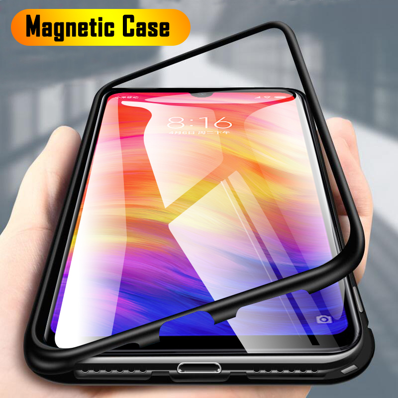 Metal Magnetic Adsorption Case For Xiaomi Redmi Note 9s 8 7 5 6 K20 Pro 8T 9 8A 7A Mi Note 10 Lite Tempered Glass Magnet Cover(China)
