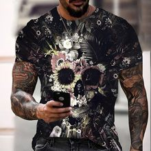 Men's T Shirts 3D Print Skull Male Outdoor Streetwear Graffiti-Art T-Shirts Homme Party Casual Wear Oversize Top Shirt XS