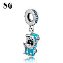SG HOT Fit pandora Bracelet 100% 925 Sterling silver Summer Fashion Sports car charm Blue Enamel Pendant Bead for Women Jewelry цена