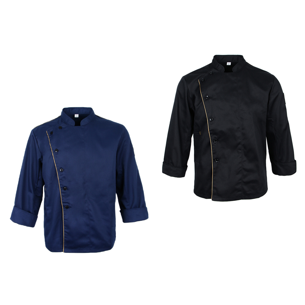 2 Pcs. Long Sleeve Worker Jacket Baker Jacket Chef Jacket With Stand-up Collar Kitchen Uniform Catering Workwear