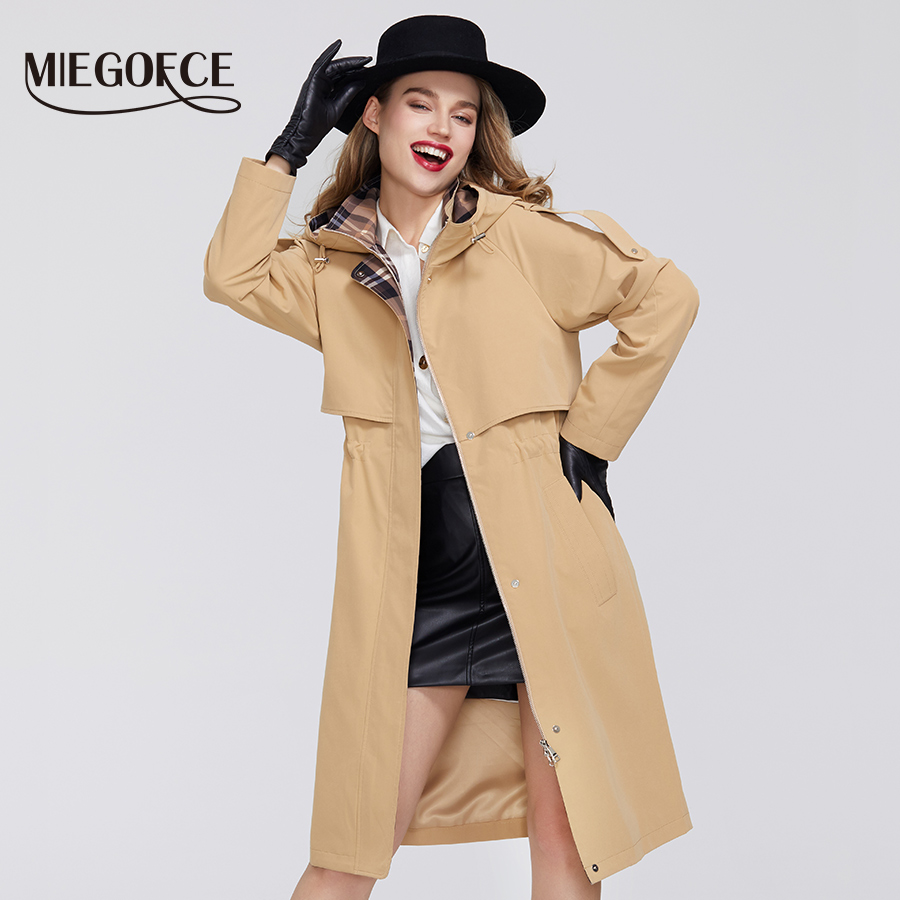 MIEGOFCE 2020 Spring New Trench Collection Designer Women Cloak Warm Windproof Coat with Resistant Collar with Hood Windbreaker(China)