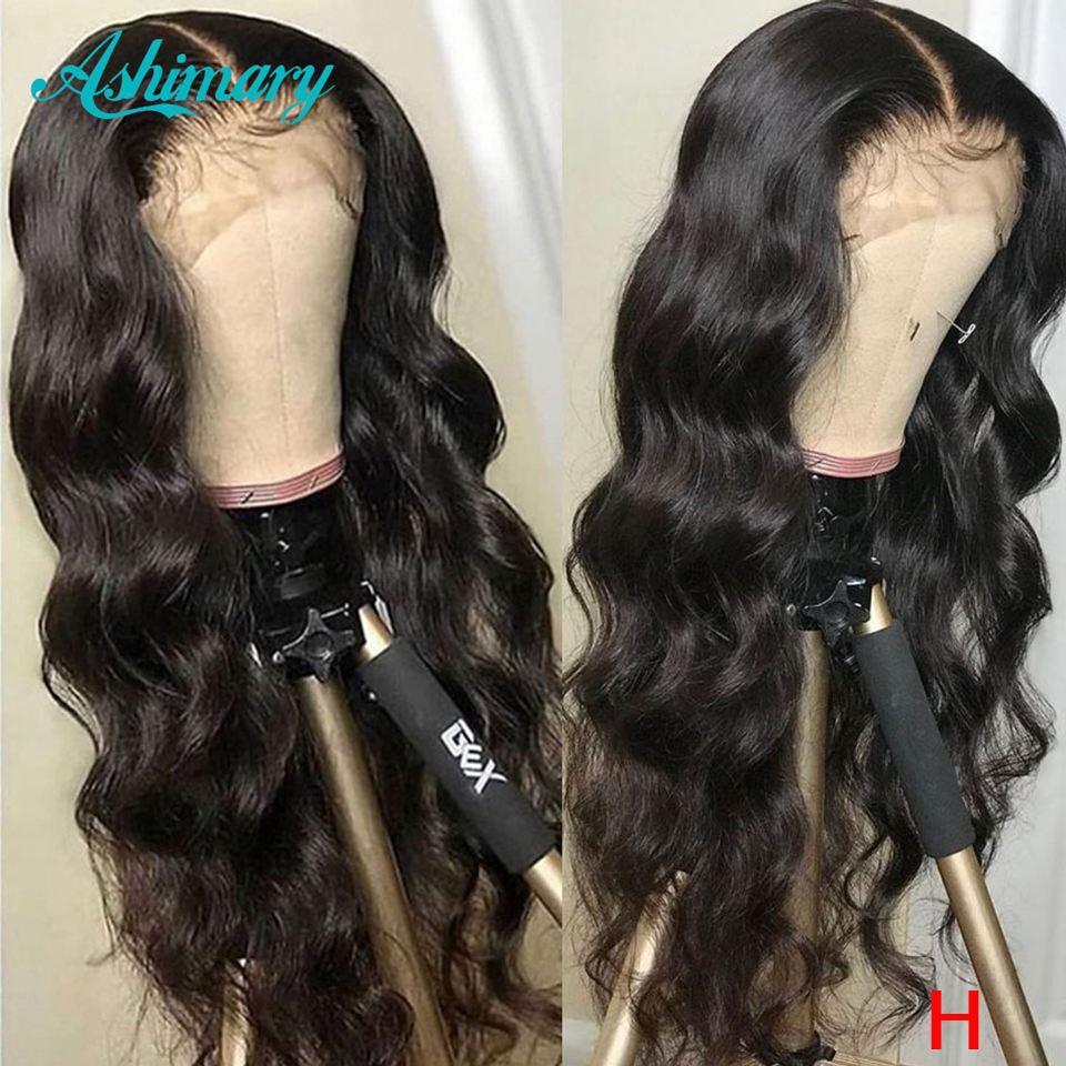 13x4 dentelle avant perruques de cheveux humains Remy brésilien vague de corps avant de lacet perruques 180 densité dentelle perruques cheveux humains rapport élevé Ashimary