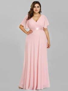 Розовое платье подружки невесты размера плюс, красивое элегантное шифоновое длинное платье трапециевидной формы с v-образным вырезом и кор...