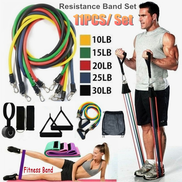 Premium Resistance Bands Set, Workout Bands - With Door Anchor, Handles And Ankle Straps - Stackable Up To 150 Lbs - For Resista