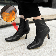 Plus Size 34-43 Genuine Leather Winter Square Toe Ankle Boots Women Zipper Boots 2020 New Booties Ladies High Heels Shoes Woman 2017 new autumn winter flower square heels round toe shoes genuine leather women boots side zipper women ankle boots botas