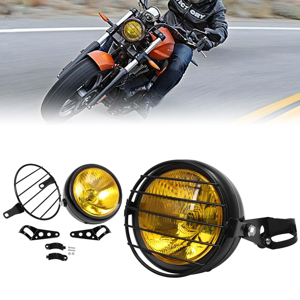 """For Cafe Racer 6.5/"""" Retro Motorcycle Headlight Grill Side Mount Cover w// Bracket"""