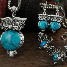 Popular 1Set Necklace Earrings Bracelets Kallaite Owl Shaped Hot Sale Top Grade Vintage Flowers Green Blue Crystal Jewelry Set(China)