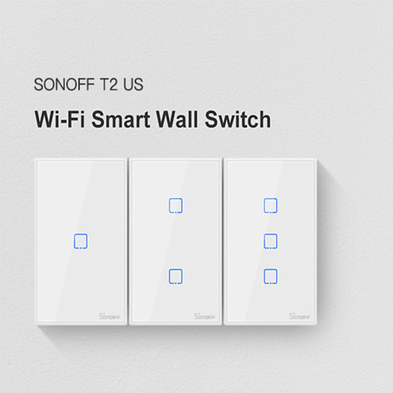 SONOFF T2 Smart Wall Switch Panel US Standard 1/2/3 Gang Work With Alexa Google Home IFTTT Control By EWeLink For Dropshipping