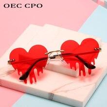 Oec cpo único coração sem aro óculos de sol feminino nova moda vermelho azul lágrimas forma óculos de sol feminino vintage steampunk uv400
