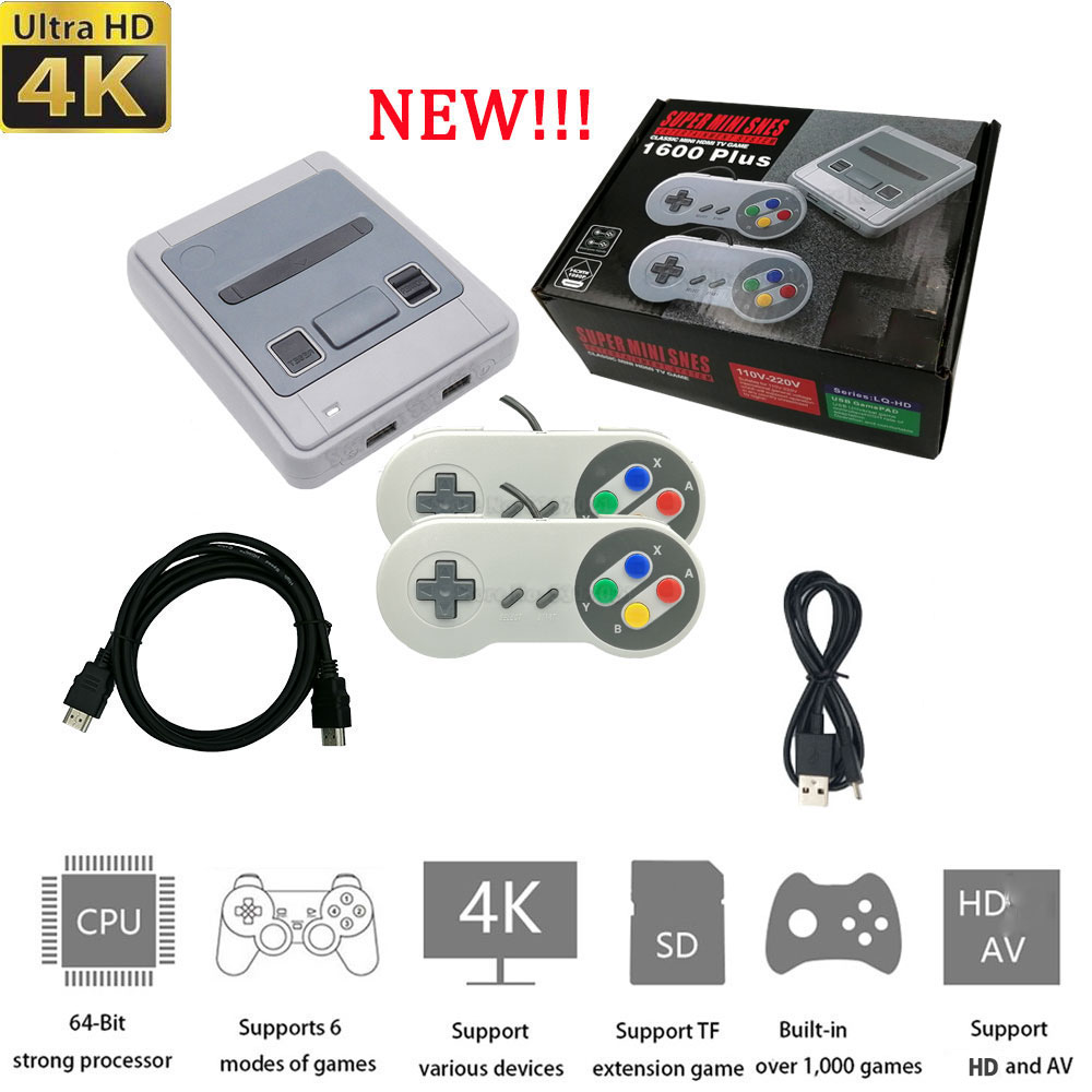 Игровая консоль Super Nintendo для Sega 4K HD-out 1600 Ретро игры мини проводной геймпад контроллер универсальный эмулятор подарок