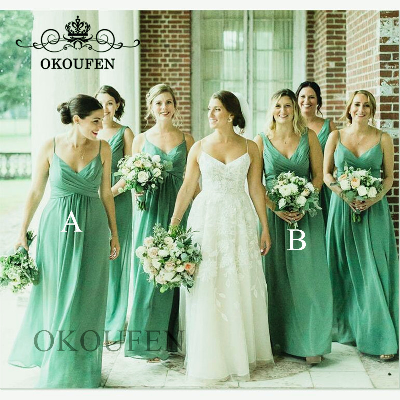 Mint Green Chiffon   Bridesmaid     Dresses   Long Spaghetti Strap Wholesale A Line Formal   Dress   For Wedding Party For Women