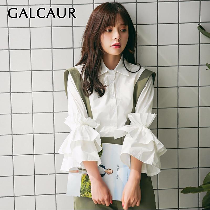 GALCAUR Chiffon Shirts Women Lapel Three Quarter Sleeve Ruffles Patchwork White Blouse Tops Female Korean Clothes 2020 Spring