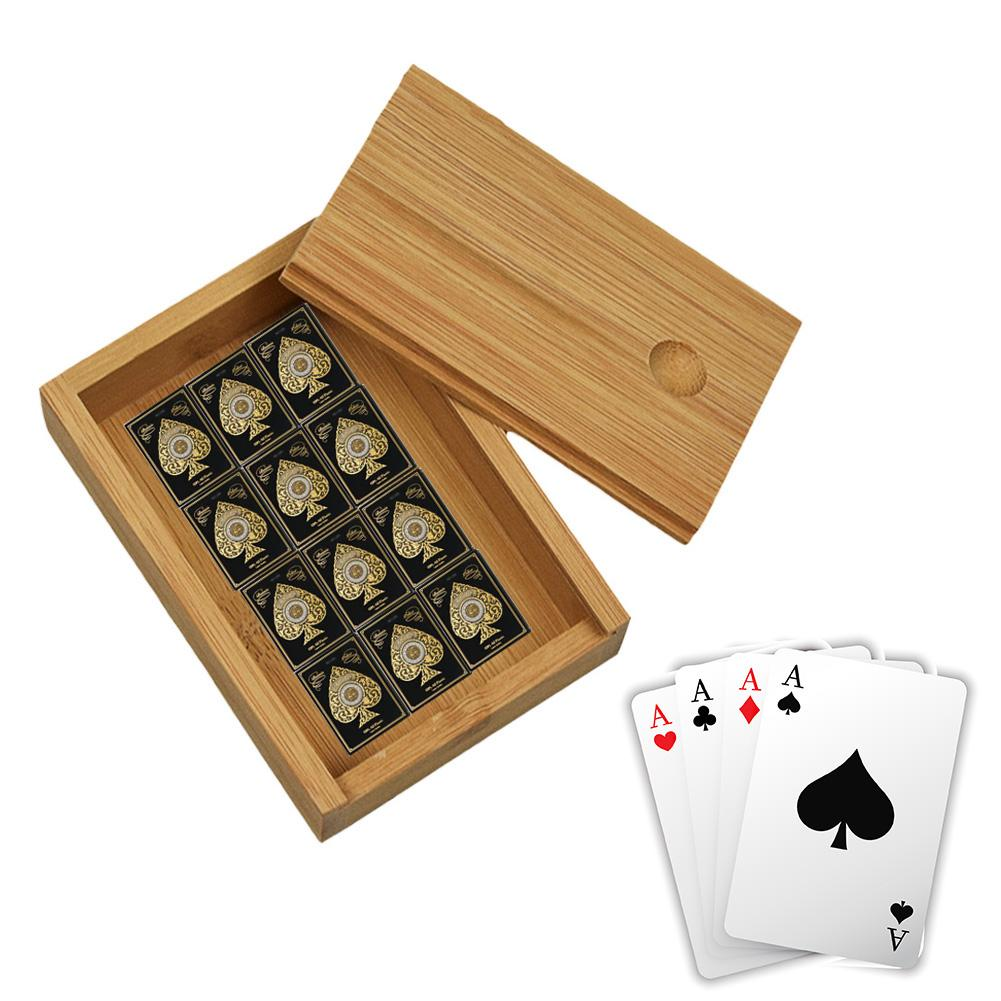 Bamboo Case Cards Storage Box Desktop Wooden Poker Playing Card Box Cases For Playing Games Table Board Deck Game Entertainment