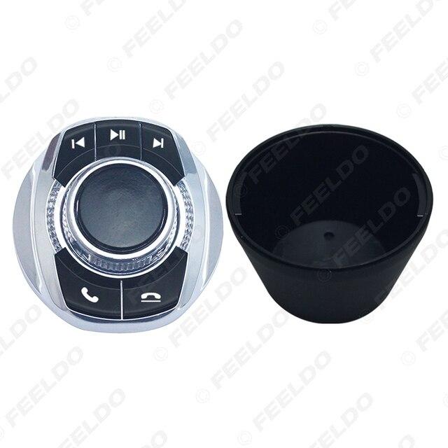 Feeldo nova forma de copo com luz led 8-funções chaves botão de controle do volante do carro sem fio para o jogador de navegação android do carro 3