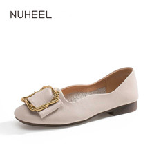 NUHEEL women's shoes soft leather shallow mouth square pump spring new low-heeled fairy wild gentle shoes women