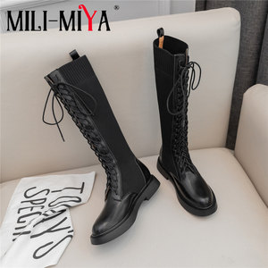 Image 1 - Brand  New Fashion Women Knee High Boots Cow Leather Slip On Square Heels famous Winter Ladies Shoes Size 34 40 Motorcycle Boots
