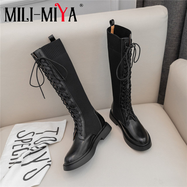 Brand  New Fashion Women Knee High Boots Cow Leather Slip On Square Heels famous Winter Ladies Shoes Size 34 40 Motorcycle Boots